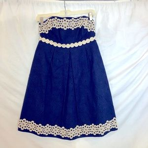 Lilly Pulitzer Navy Gold Strapless Dress size 2